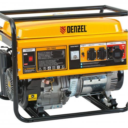 Генератор бензиновый GE 7900, 6.5 кВт, 220 В/50 Гц, 25 л, ручной пуск Denzel - 94638