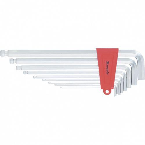 Набор ключей имбусовых HEX, 2-12 мм, CrV, 9 шт, экстра-длинные, c шаром, сатин Matrix - 16411