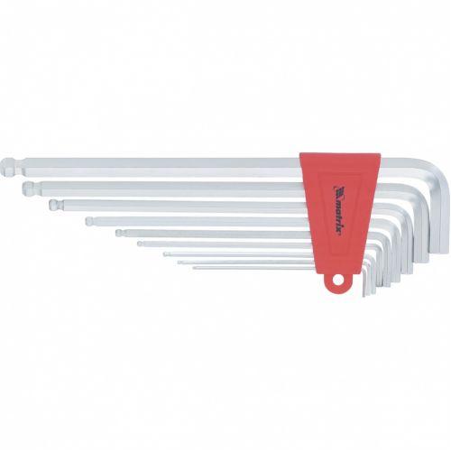 Набор ключей имбусовых HEX, 1,5-10 мм, CrV, 9 шт, экстра-длинные, c шаром, сатин Matrix - 16410