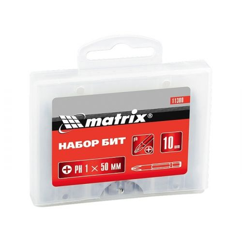 Набор бит PZ1 x 50 мм, сталь 45Х, 10 шт, пластиковый бокс Matrix - 11386