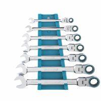 Набор ключей комбинированных с трещоткой, 8-19 мм, 7 шт, шарнирные, CrV Gross - 14891