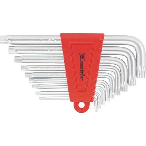 Набор ключей имбусовых TORX, 9 шт, T10-T50, CrV, коротких, с сатинированным покрытием Matrix - 12305
