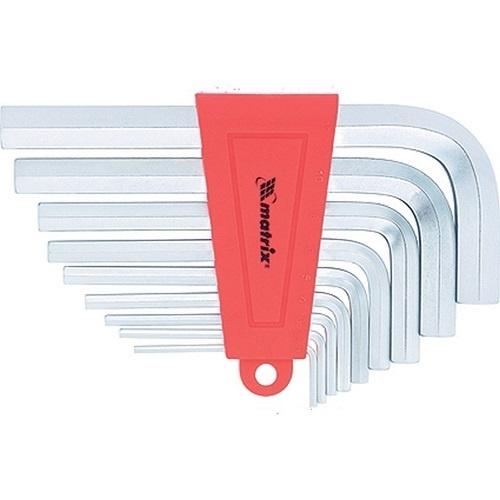 Набор ключей имбусовых HEX, 2-12 мм, CrV, 9 шт, короткие с сатинированным покрытием Matrix - 12301