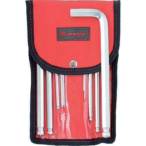 Набор ключей имбусовых HEX, 1,5-12 мм, CrV, 10 шт, удлиненных, шарообразный наконечник, с сатинированным покрытием, чехол Matrix - 12311