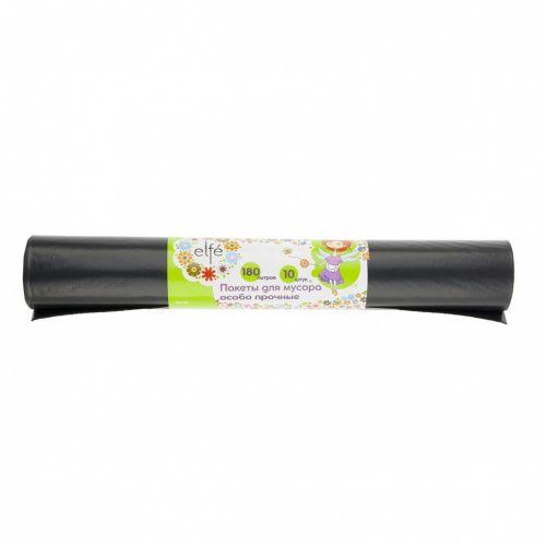 Пакеты для мусора 180 л х 10 шт, пвд особопрочные черные, длинный ролик, Россия Elfe - 92728