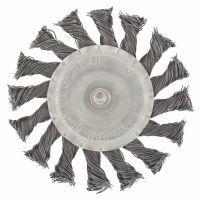 Щетка для дрели, 100 мм, плоская со шпилькой, крученая металлическая проволока Сибртех - 744327
