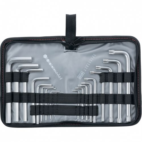 Набор ключей имбусовых HEX-TORX, 18 шт: HEX 1,5-10 мм, T10-T50, CrV, коротких, с сатиновым покрытием Matrix - 12314