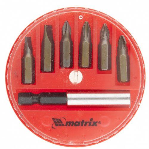 Набор бит, магнитный адаптер для бит, сталь 45Х, 7 предметов, пластиковый кейс Matrix - 11392