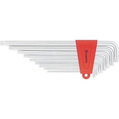 Набор ключей имбусовых TORX, 9 шт, T10-T50, CrV, экстра-длинные с сатинированным покрытием Matrix - 12307