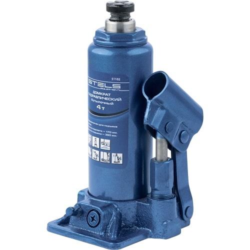 Домкрат гидравлический бутылочный, 4 т, H подъема 195-380 мм Stels - 51102