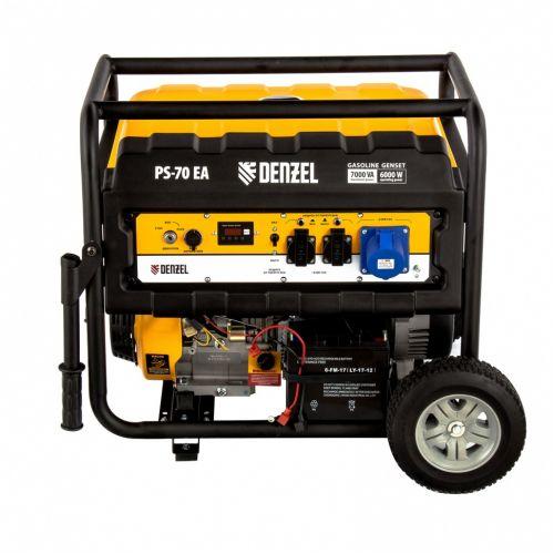 Генератор бензиновый PS 70 EA, 7.0 кВт, 230 В, 25 л, коннектор автоматики, электростартер Denzel - 946894