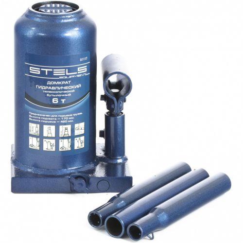 Домкрат гидравлический бутылочный телескопический, 6 т, H подъема 170-420 мм Stels - 51117