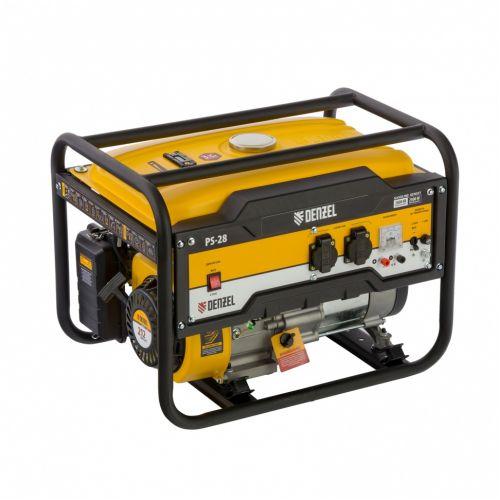 Генератор бензиновый PS 28, 2.8 кВт, 230 В, 15 л, ручной стартер Denzel - 946824