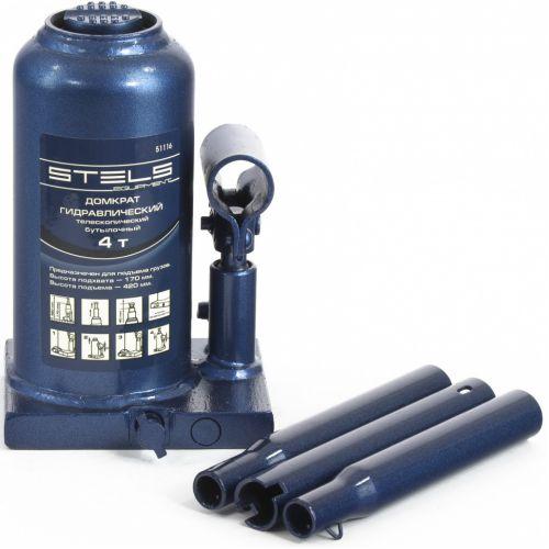 Домкрат гидравлический бутылочный телескопический, 4 т, H подъема 170-420 мм Stels - 51116