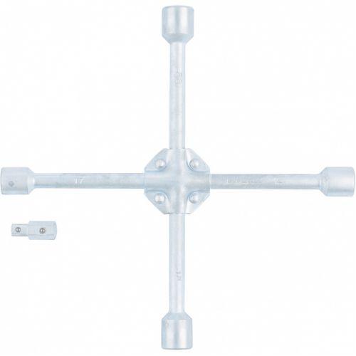 Ключ-крест баллонный, 17 х 19 х 21 х 22 мм, под квадрат 1/2, усиленный, с переходником на 1/2 Stels - 14249