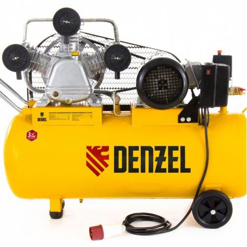 Компрессор масляный PC 3/100-504, ременный, производительность 504 л/м, мощность 3 кВт Denzel - 58098