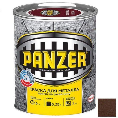 Краска для металла Panzer молотковая коричневая 0,25 л