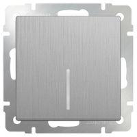 Механизм выключателя Werkel WL09-SW-1G-LED одноклавишный с индикатором серебряный рифленый