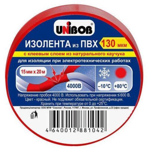Клейкая лента Unibob 59646 электроизоляционная красная 20000х15 мм