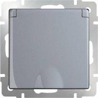 Механизм розетки Werkel WL06-SKGSC-01-IP44 одноместный с заземлением и защитными шторками с крышкой серебряный