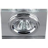 Светильник точечный Эра Dk8 Ch/Wh декор стекло квадрат Mr16 12В 50Вт хром/зеркальный 253951