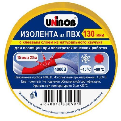 Клейкая лента Unibob 59649 электроизоляционная желтая 20000х15 мм