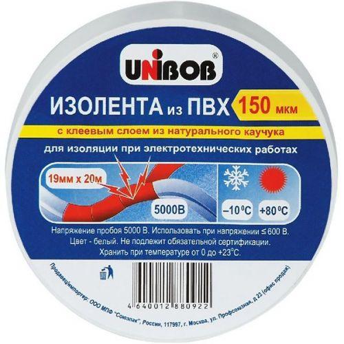 Клейкая лента Unibob 59482 электроизоляционная белая 20000х19 мм