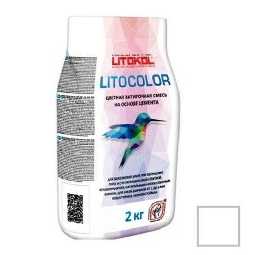 Смесь затирочная цементная для швов Litokol Litocolor L.00 белая 2 кг