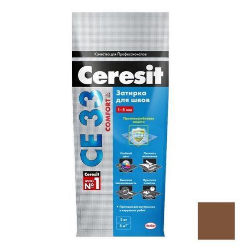 Затирка цементная для узких швов Ceresit СЕ33 Comfort темно-коричневая 2 кг