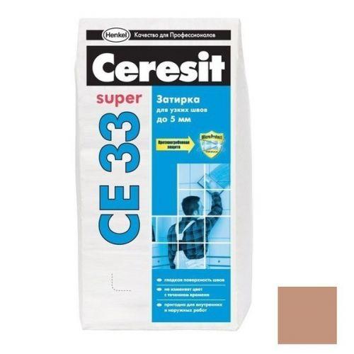 Затирка цементная для узких швов Ceresit CE 33 Super светло-коричневая 2 кг