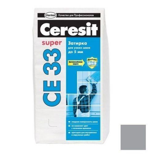 Затирка цементная для узких швов Ceresit CE 33 Super Антрацит 2 кг