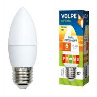 Лампа светодиодная Volpe Optima LED-C37-6W/WW/E27/FR/O