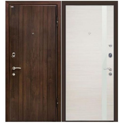Дверь входная металлическая МеталЮр М6 860х2060 мм левая МДФ 12 мм Венге и МДФ 18 мм 6Z Эшвайт Кроскут