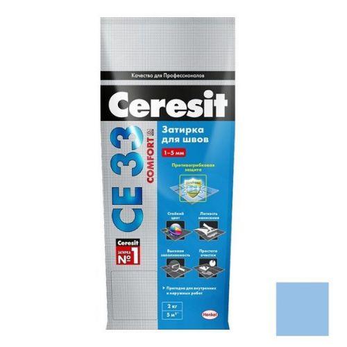 Затирка цементная для узких швов Ceresit СЕ33 Comfort голубая 2 кг