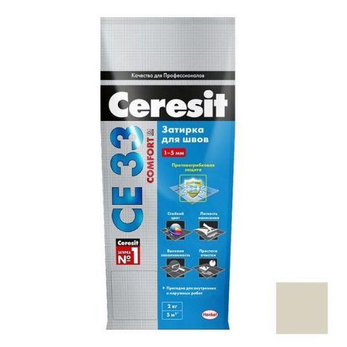 Затирка цементная для узких швов Ceresit СЕ33 Comfort Багамы бежевая 2 кг