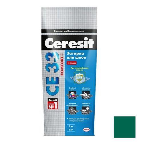 Затирка цементная для узких швов Ceresit СЕ33 Comfortзеленая 2 кг