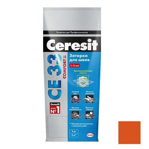 Затирка цементная для узких швов Ceresit СЕ33 Comfort Кирпичная 2 кг