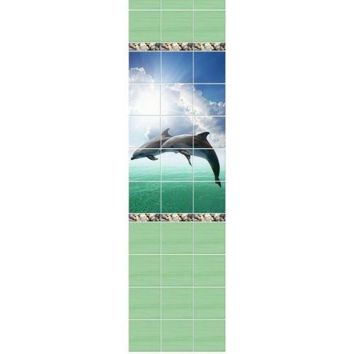 Стеновая панель ПВХ Novita фриз 3D Зеленый океан узор 2700x250 мм