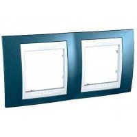 Рамка двухместная Schneider Electric Unica MGU6.004.854 горизонтальная хамелеон голубой лед/белая