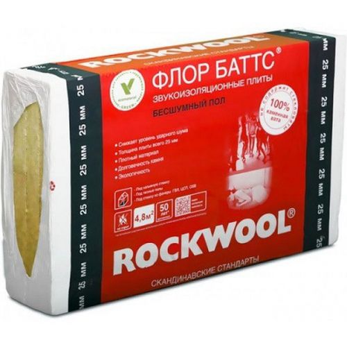 Базальтовая вата Rockwool Флор Баттс 1000х600х50 мм 4 штуки в упаковке