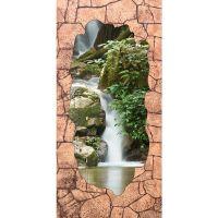 Стеновая панель МДФ Акватон Грот коричневый с декоративной вставкой Водопад 2440х1220 мм
