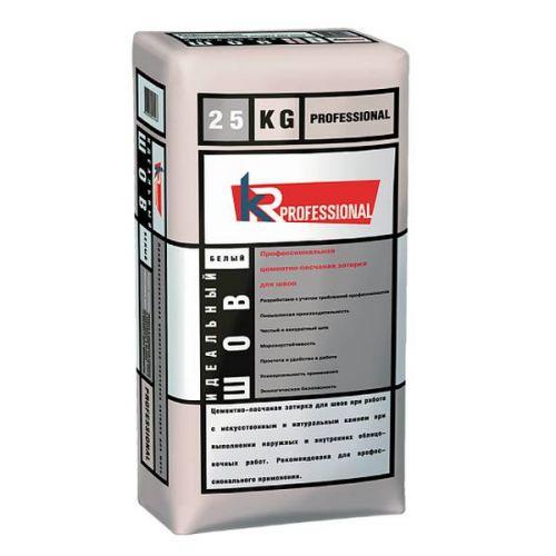 Затирка цементно-песчаная для швов KR Professional Идеальный шов белая 25 кг