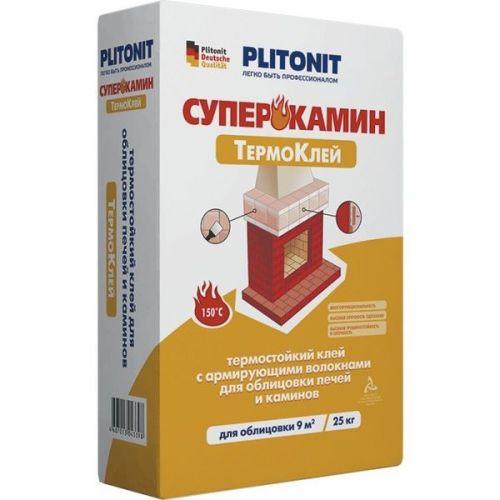 Клей для облицовки печей и каминов Plitonit Суперкамин Термоклей 25 кг