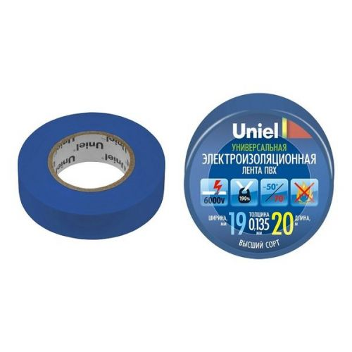 Изолента ПВХ Uniel UIT-135P 19 мм синяя 20 м