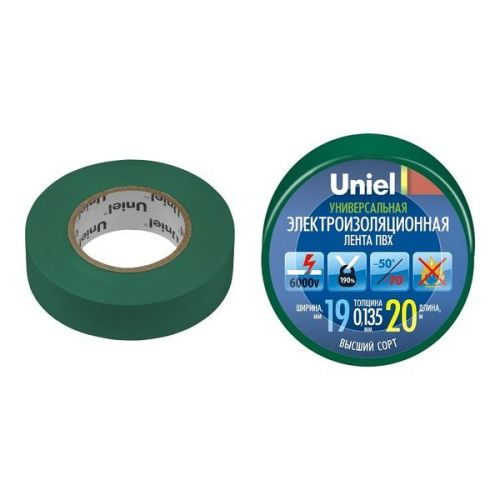Изолента ПВХ Uniel UIT-135P 19 мм зеленая 20 м