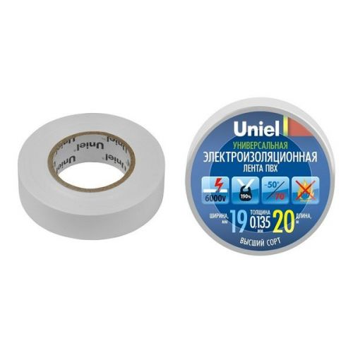 Изолента ПВХ Uniel UIT-135P 19 мм белая 20 м