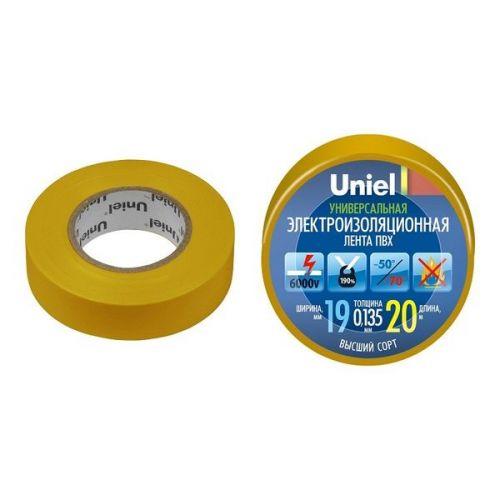 Изолента ПВХ Uniel UIT-135P 19 мм желтая 20 м