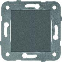 Механизм выключателя Panasonic Karre Plus WKTT00092DG-RES двухклавишный тёмно-серый