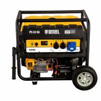 Генератор бензиновый PS 55 EA, 5.5 кВт, 230 В, 25 л, коннектор автоматики, электростартер Denzel - 946874